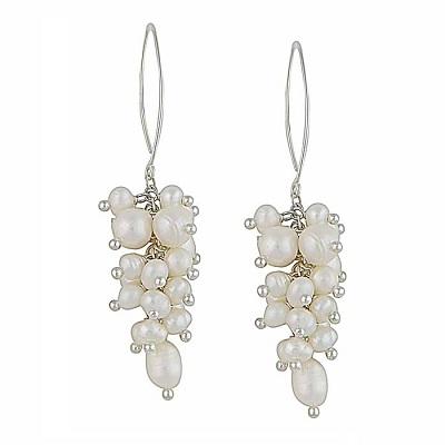 Cluster of Freshwater Pearl Earrings in Sterling Silver
