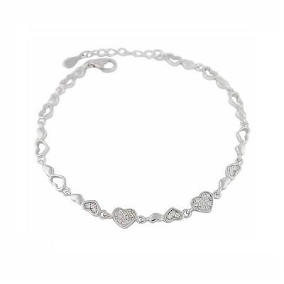 Silver Heart Link Bracelet