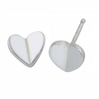 Silver Heart Stud Earrings 8mm