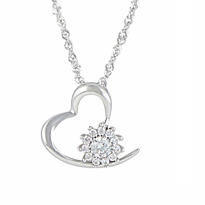 Silver Heart and Crystal Necklace