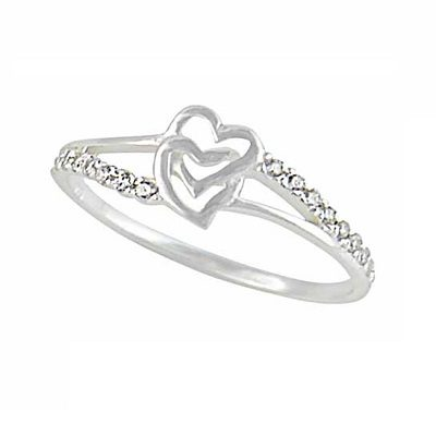 Interlocking Silver Heart Ring