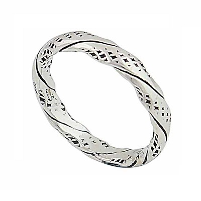 Textured Effect and Twisted Silver Ring - 3mm