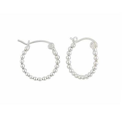 Silver Ball Small Hoop Earrings - 18mm