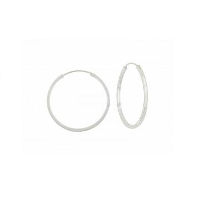 Plain Sterling Silver Hoop Earrings - 35mm