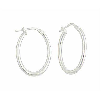 Oval Plain Silver Creole Earrings - 25mm