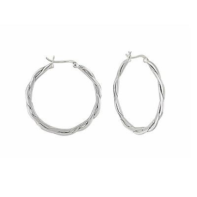 Open Wave Large Silver Hoop Earrings
