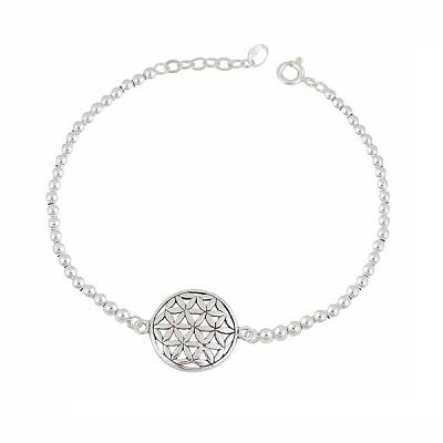 Flower of Life Silver Ball Bracelet