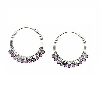 Bring a gemstone to your hoop earrings look