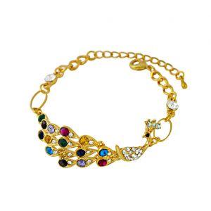 Golden Peacock and Multi Colour CZ Bracelet