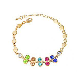 Heart Charm and Multi Colour Crystal Bracelet