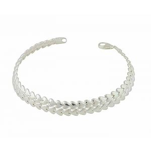 Two Row Link Silver Heart Bracelet