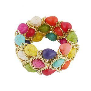 Multi Colour Teardrop Bead Stretchable Bracelet