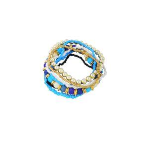 Blue and Golden Bead Stack Bracelet