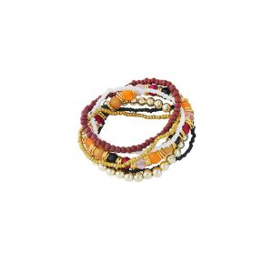 Brown and Golden Bead Stack Bracelet