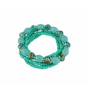 Multi Layer Stretch Bead Turquoise Bracelet - Boho Jewellery