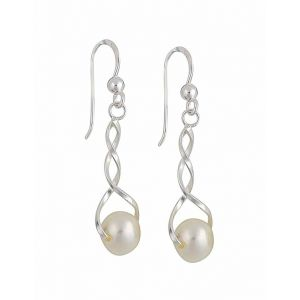 Cross Over Freshwater Pearl Silver Dangle Earrings