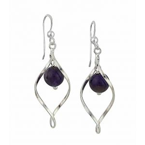 Silver Water Drop Amethyst Dangle Earrings