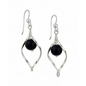 Silver Water Drop Black Onyx Dangle Earrings