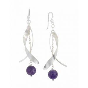 Sterling Silver Curved Bar and Amethyst Drop Earrings