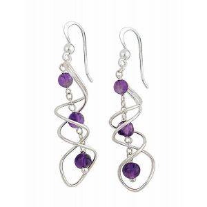 Intertwined Swirl Amethyst Drop Earrings