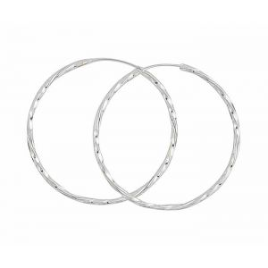 Twisted Design Large Silver Hoops -  45mm