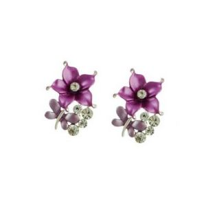 Butterfly and Flower Stud Earrings