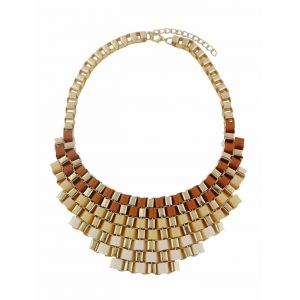 Gradient Pendant and Woven Lace Design Fashion Necklace