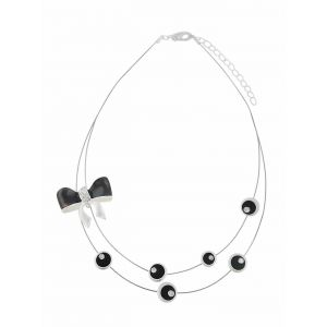 Black Enamel Bow Short Necklace