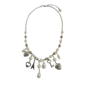 Vintage Finish Pearl Bead, Heart and Key Charm Necklace