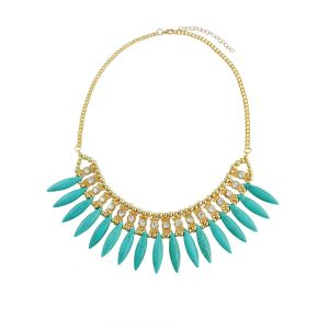 Turquoise statement Necklace with Rhinestone Detailing