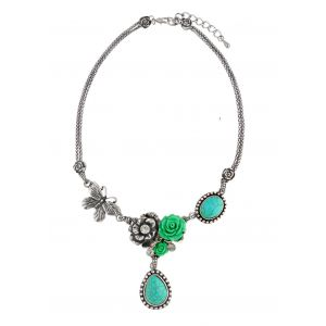 Bead and Flower Turquoise Statement Necklace