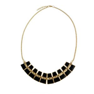 Geometric Pattern Black Statement Necklace