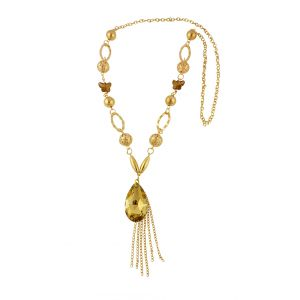 Teardrop Pendant with Tassels Design Long Necklace