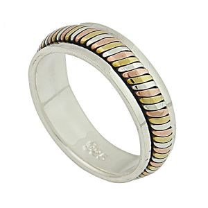 Tri Colour Silver Spinner Ring