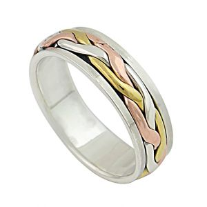 Three Colour Woven Style Silver Spinner Ring