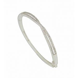 Cross Over Cubic Zirconia Silver Bangle