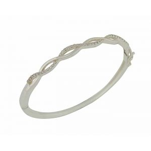 Cubic Zirconia and Plain Wave Silver Hinged Bangle