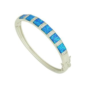 Blue Opal Sectional Silver Bangle