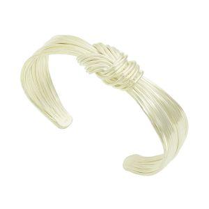 Knotted Strand Silver Cuff Bangle