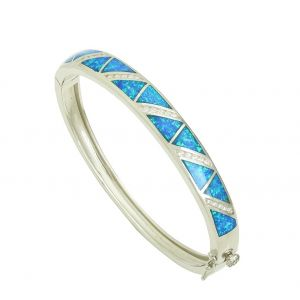 Blue Opal Geo Divide Clasp Bangle