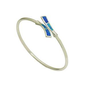 Blue Opal Nestling Silver Bangle