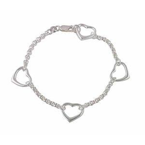 Open Silver Heart Bracelet