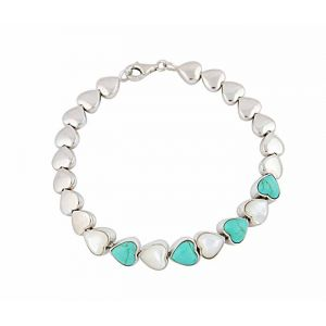 Mother of Pearl and Turquoise Silver Heart Bracelet