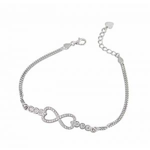 Infinity and Heart Silver Bracelet