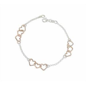 Rose Gold Plated Link Silver Heart Bracelet