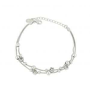 Flower and Silver Ball Bracelet