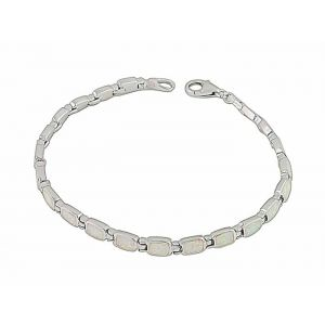 Rectangle White Opal Silver Bracelet