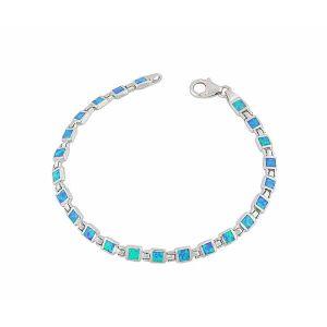 Square Blue Opal Silver Bracelet