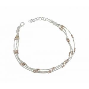 Rose Gold Plated Bead and Silver Chain Bracelet