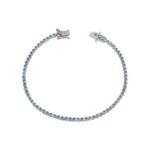 Round Cut Turquoise Cubic Zirconia Tennis Bracelet